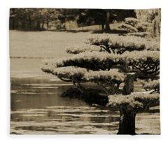 Bonsai Tree Near Pond In Sepia Fleece Blanket