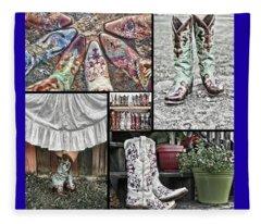 Boot Collage Fleece Blanket