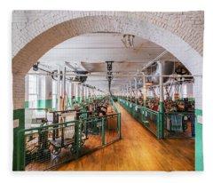 Boott Cotton Mill Weaving Room Fleece Blanket