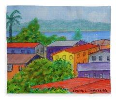 Boqueron Puerto Rico Rooftops Fleece Blanket