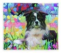 Border Collie In Field Of Flowers Fleece Blanket