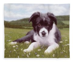 Border Collie Puppy Painting Fleece Blanket
