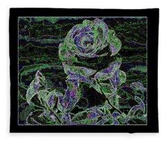 Bordered Abstract Rose Fleece Blanket