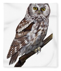 Boreal Owl Tengmalm's Owl Aegolius Funereus - Nyctale De Tengmalm - Paerluggla - Nationalpark Eifel Fleece Blanket