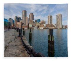 Boston Cityscape From The Seaport District 3 Fleece Blanket