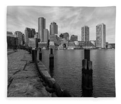 Boston Cityscape From The Seaport District In Black And White Fleece Blanket