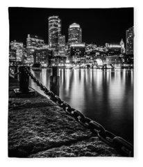 Boston Harbor At Night Fleece Blanket