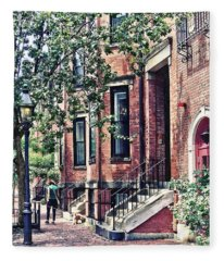 Boston Ma - Walking The Dog On Mount Vernon Street Fleece Blanket