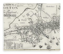 Boston Map, 1722 Fleece Blanket