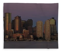 Boston Moonset And Sunrise Fleece Blanket