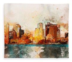 Boston, Panorama - 10 Fleece Blanket