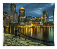 Boston Skyline At Night - Cty828916 Fleece Blanket