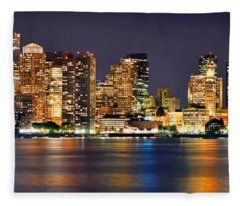 Boston Skyline At Night Panorama Fleece Blanket