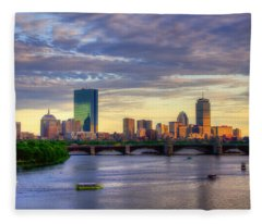Boston Skyline Sunset Over Back Bay Fleece Blanket