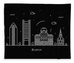 Boston Skyline Travel Poster Fleece Blanket