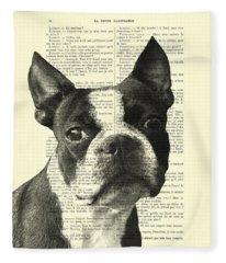 Boston Terrier Portrait In Black And White Fleece Blanket