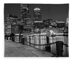 Boston Waterfront Boston Skyline Black And White Fleece Blanket