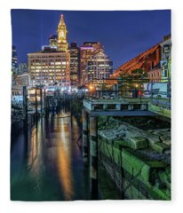 Boston's Custom House Tower From Long Wharf Fleece Blanket