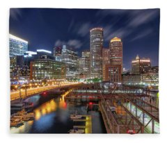 Boston's Skyline At Night Fleece Blanket