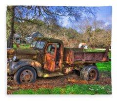 Boswell 1947 Dump Truck Farm Scene Art Fleece Blanket