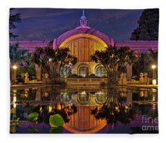 Botanical Building At Night In Balboa Park Fleece Blanket