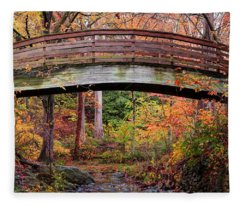 Botanical Gardens Arched Bridge Asheville During Fall Fleece Blanket