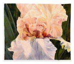 Botanical Peach Iris Fleece Blanket
