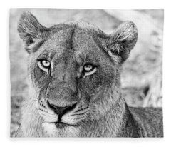 Botswana  Lioness In Black And White Fleece Blanket