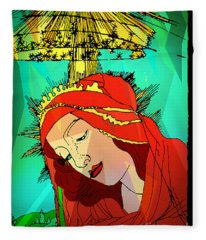 Botticelli Madonna Abstract Background Fleece Blanket