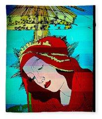Botticelli Madonna Layered Fleece Blanket