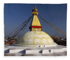 Boudhanath Stupa Fleece Blanket