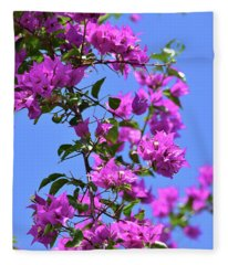 Bougainvillea And Sky Fleece Blanket