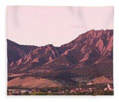 Boulder Colorado Flatirons 1st Light Panorama Fleece Blanket