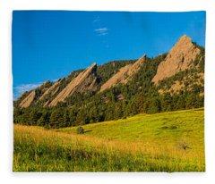 Boulder Colorado Flatirons Sunrise Golden Light Fleece Blanket