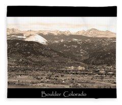 Boulder Colorado Sepia Panorama Poster Print Fleece Blanket