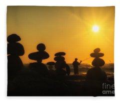 Boulders By The Sea Fleece Blanket