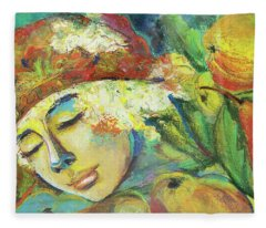Bouqet-modern,colourful Portrait.girl Portrait With Fruits And Flowers.  Fleece Blanket