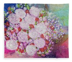 Bouquet Flowers Fleece Blanket