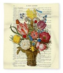 Bouquet Of Flowers On Dictionary Paper Fleece Blanket