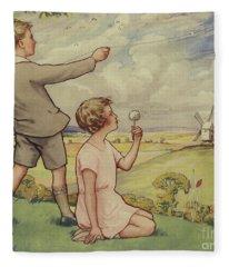 Boy And Girl Flying A Kite Fleece Blanket