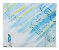 Boy And Shma Shema Fleece Blanket