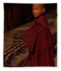Boy Buddhist In Bodh Gaya Fleece Blanket