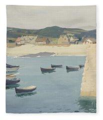 Boy Reading On A Harbour's Edge  Fleece Blanket