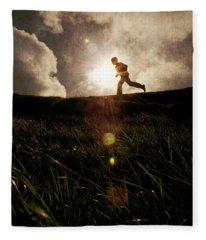 Boy Running Fleece Blanket