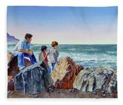 Boys And The Ocean Fleece Blanket