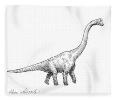 Brachiosaurus Dinosaur Black And White Dino Drawing  Fleece Blanket
