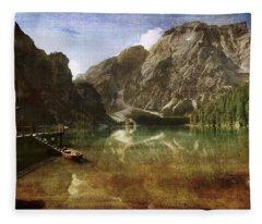 Braies Lake Fleece Blanket