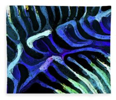 Brain Coral Abstract 3 In Blue Fleece Blanket