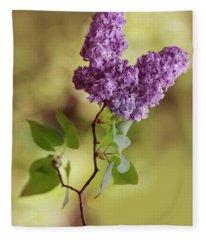 Branch Of Fresh Violet Lilac Fleece Blanket