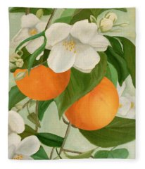 Branch Of Orange Tree In Bloom Fleece Blanket
